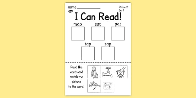 I Can Read Phase 2 Set 1 Words Activity Sheet - activity, sheet, satpin, worksheet