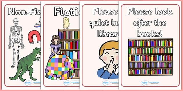 Library Role Play Display Posters - library, books, book, banner, sign, poster, display, fiction, non-fiction, reading, card, librarian, shalves, labels, label