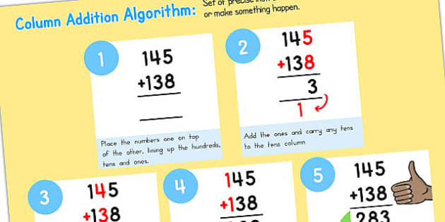 Add Algorithm Computing Curriculum Poster 3 Digits - australia