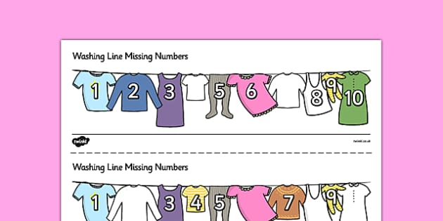 Washing Line Missing Number To 10 Activity Sheets - number, maths, Count, numbers to 10, missing number, numeral recognition