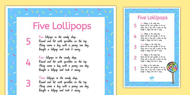 Five Lollipops Nursery Rhyme Poster - nz, new zealand, five lollipops, nursery rhyme, poster
