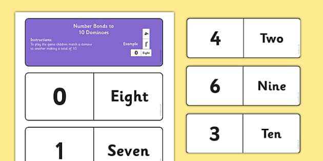 Number Bonds to 10 Dominoes - maths, numeracy, game, activity, counting, adding, early years, ks1, key stage 1