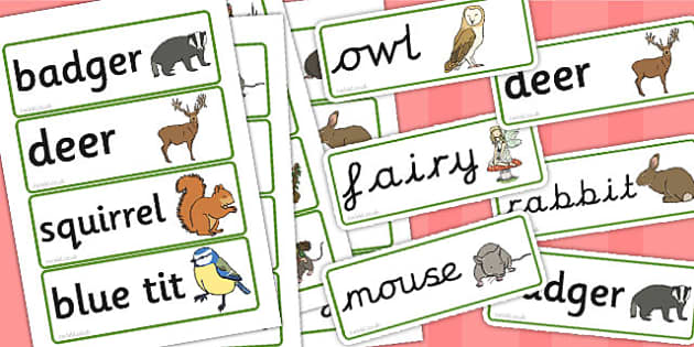 Woodland Creatures Word Cards - word cards, words, woodland