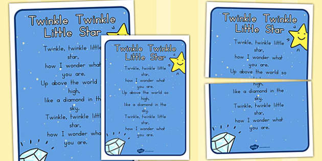 Twinkle Twinkle Little Star Nursery Rhyme Poster - Star, Rhyme