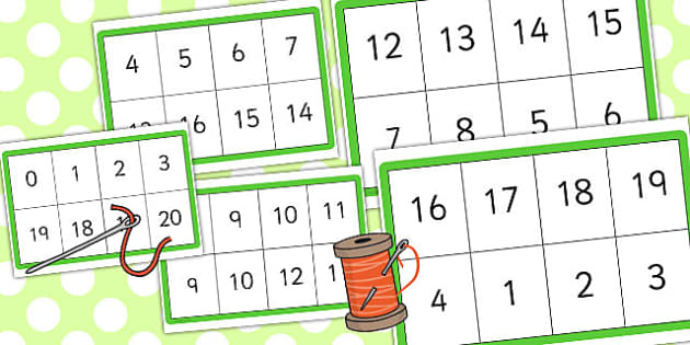 Number Bonds to 20 Matching Threading Cards - thread, activity