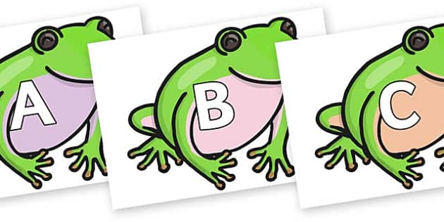 A-Z Alphabet on Green Tree Frog - A-Z, A4, display, Alphabet frieze, Display letters, Letter posters, A-Z letters, Alphabet flashcards
