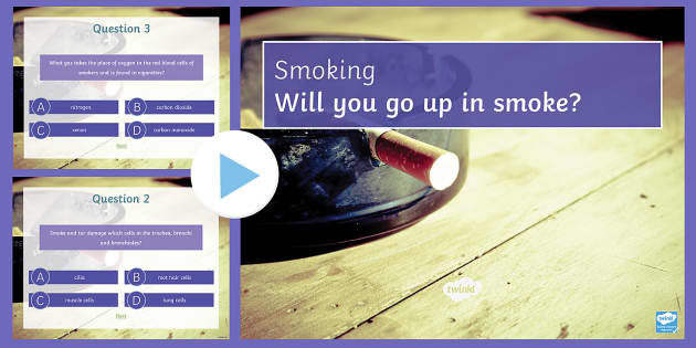 Smoking Quiz PowerPoint - PowerPoint Quiz, Smoking, Health, Tar, Nicotine, Lungs, Asthma, Bronchitis