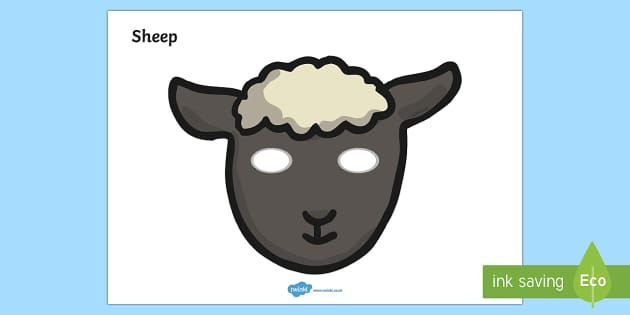 Sheep Mask - role play, sheep, ram, nativity scene, stable, baa, ram, ewe, fleece.