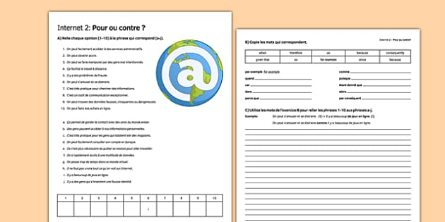 L'Internet : pour ou contre? (2) -Internet, Pros, Cons, Advantages, Disadvantages, France, world wide web,