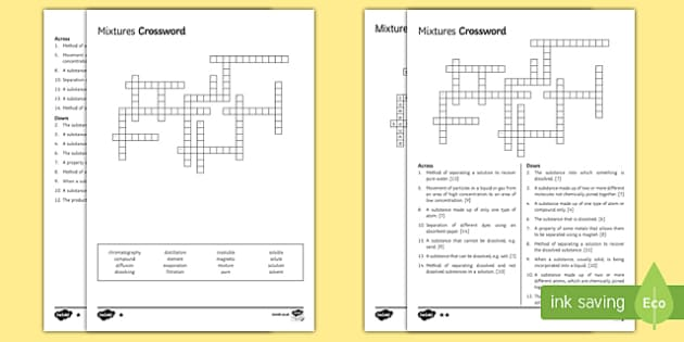 KS3 Pure and Impure Substances Crossword