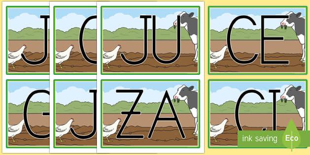 Tarjetas de sílabas En la granja - En la granja, transcurricular, proyecto, animales, vaca, cerdo, oveja, pato, caballo, cabra, burro,