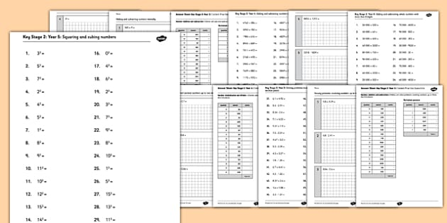KS2 Arithmetic Test Content Practice Questions Pack Years 3-6