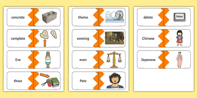 Phase 5 Real e-e Split Digraph Words Matching Cards