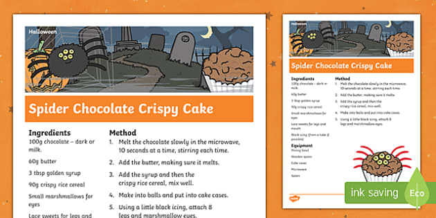 Halloween Spider Chocolate Crispy Cake Recipe