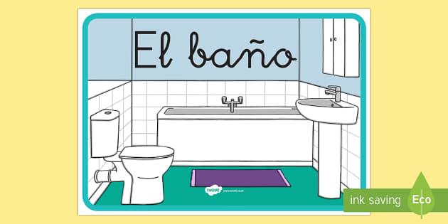 Cartel: El baño - cartel, pancarta, letrero, póster, baño