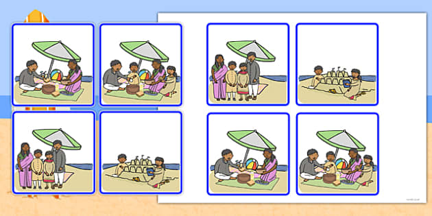Sequencing Cards at the Beach - beach, sequencing, cards, sen