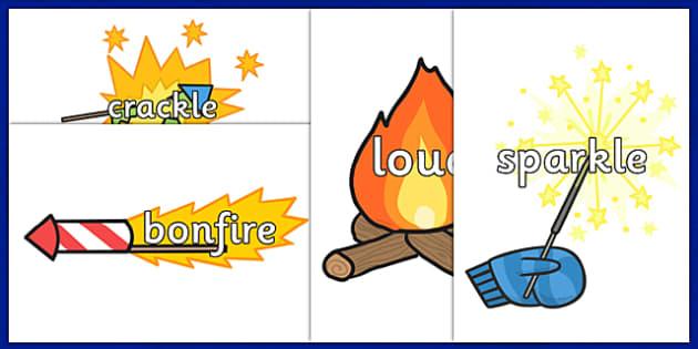Bonfire Night Topic Words on Fireworks - fireworks, celebrate