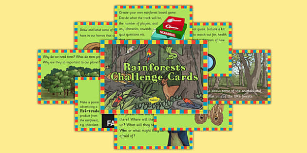Rainforests Challenge Cards - geography, rainforest, tropical, jungle, biome