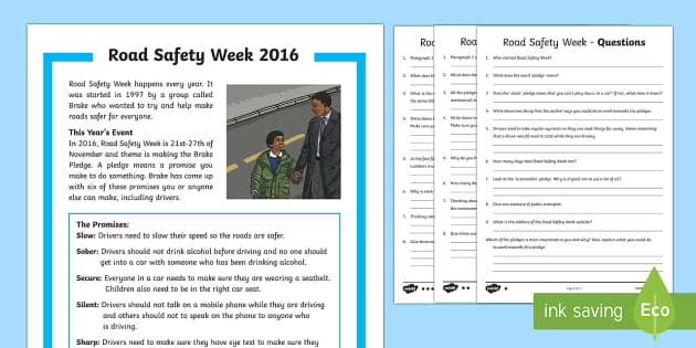 Road Safety Week KS2 Differentiated Reading Comprehension Activity