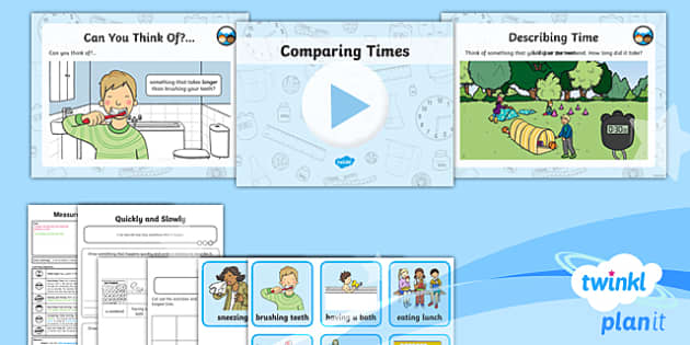PlanIt Y1 Measurement Lesson Pack Understanding Time (1)  - Measurement, measuring, compare, describe, time, before and after, longer and shorter, earlier and l