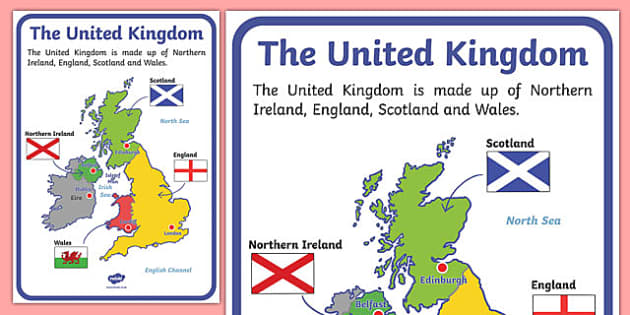 The United Kingdom Display Poster - geography, countries, display