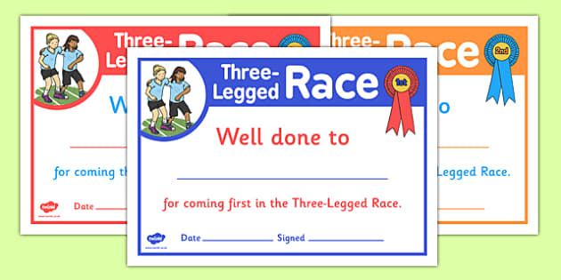 Sports Day Three Legged Race Certificates - sports day, certificates