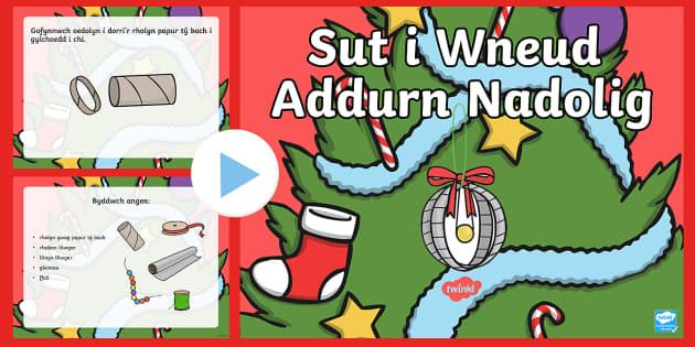 Sut i Wneud Addurn Nadolig Pŵerbwynt - Christmas Wales - Welsh Medium, Welsh