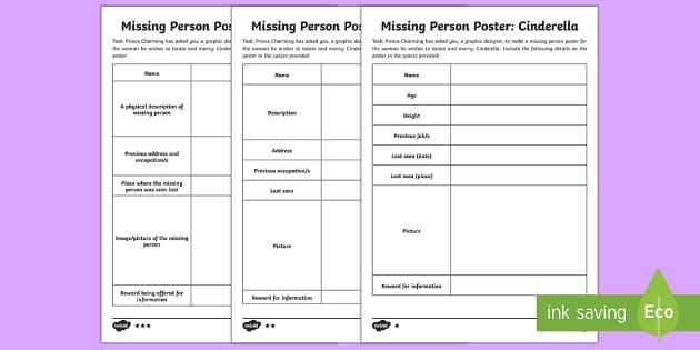 Cinderella Missing Person Poster Writing Template creative – Missing Persons Poster Template