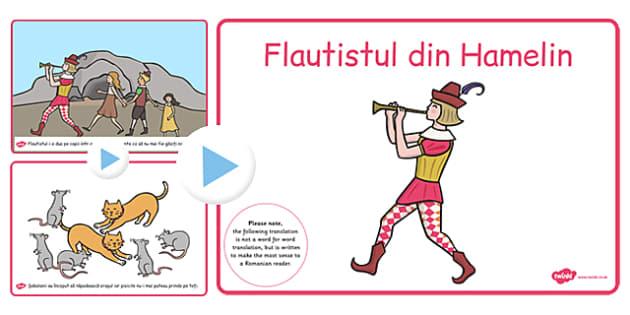 Flautistul din Hamelin, lectura, povestea cu imagini, powerpoint, Romanian