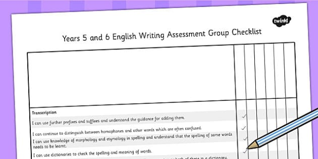 2014 Curriculum UKS2 Years 5 and 6 Writing Assessment Group Check