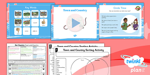 PlanIt - Geography Year 1 - Our Country Unit Lesson 1: Town and Country Lesson Pack