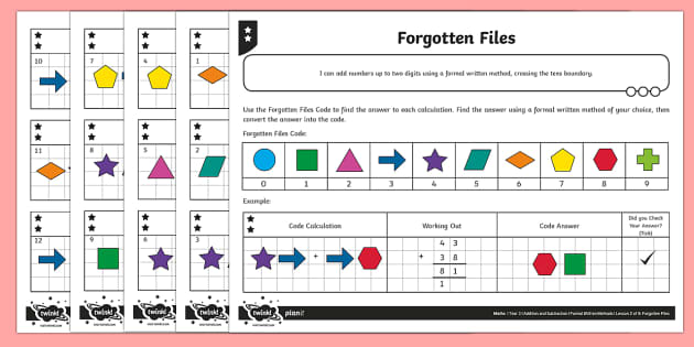 Adding Two-Digit Numbers, Bridging Through Ten Code Breaking Activity Sheet - Addition and Subtraction, add, more, plus, and, make, altogether, worksheet, total, equal to, equals