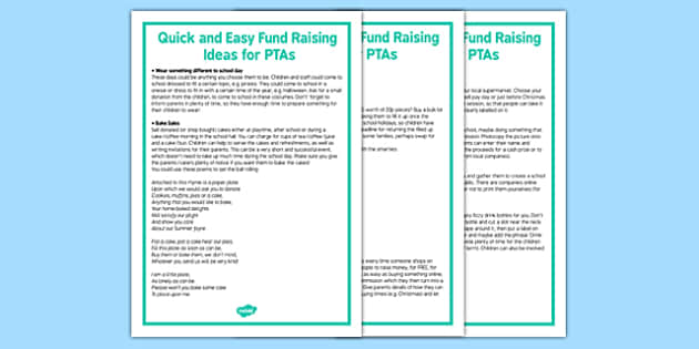 Quick and Easy Fundraising Ideas for PTAs - quick, easy, fundraising, ideas, ptas