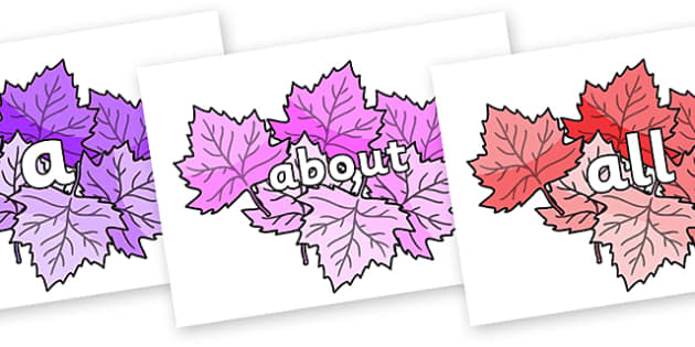 100 High Frequency Words on Autumn Leaves (Multicolour) - High frequency words, hfw, DfES Letters and Sounds, Letters and Sounds, display words