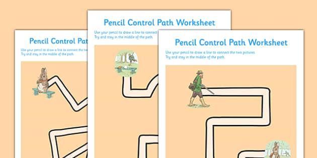 Beatrix Potter - The Story of a Fierce Bad Rabbit Pencil Control Path Worksheets - beatrix potter, fierce, bad, rabbit