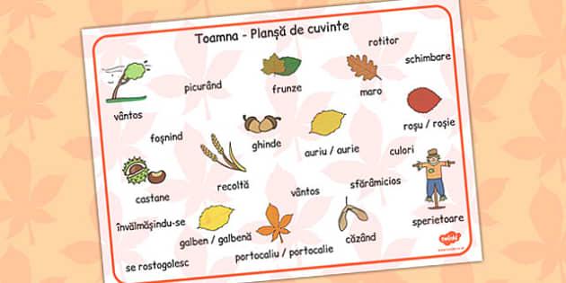 Autumn Word Mat Romanian