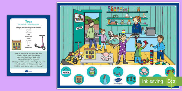Toys Can you Find...? Poster and Prompt Card Pack - Toys, can you find, toy shop