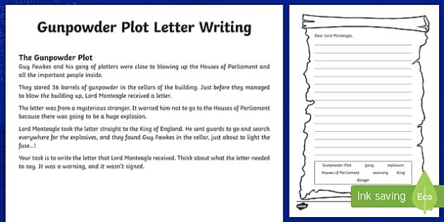 Gunpowder Plot Letter Writing Activity Sheet, worksheet