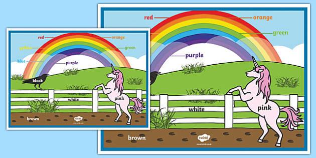 Póster Colores del arco iris - inglés