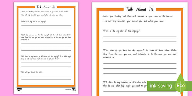 Inquiry Talk About it! Student Planning Activity Sheet - Inquiry Cycle postersInquiryImmersionPlanningStudent led