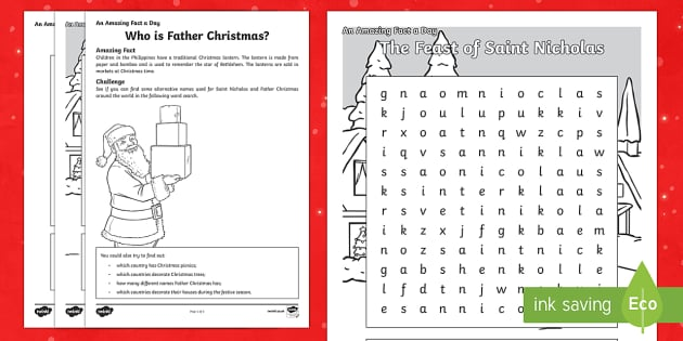 Amazing Fact a Day KS2 Countdown to Christmas Day 3 Who is Father Christmas Activity Sheet - Amazing Fact Of The Day, activity sheets, powerpoint, starter, morning activity, worksheet, December