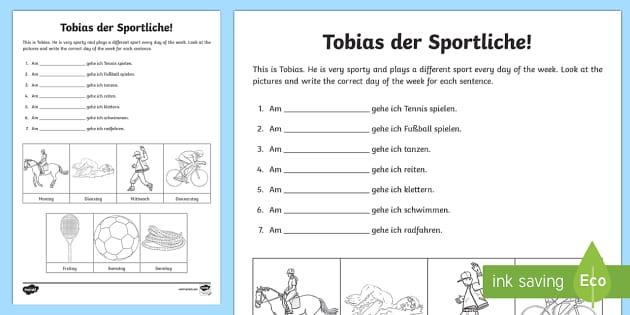 Days of the Week Activity Sheet German - Days of the week, sports, German, worksheet