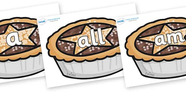 Foundation Stage 2 Keywords on Mince Pies - FS2, CLL, keywords, Communication language and literacy,  Display, Key words, high frequency words, foundation stage literacy, DfES Letters and Sounds, Letters and Sounds, spelling
