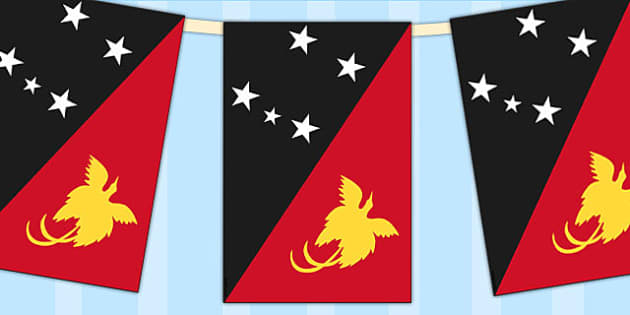 Papua New Guinea Flag Display Bunting - countries, geography