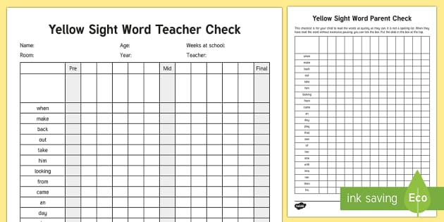 Yellow Reading Sight Words Checklist - Literacy, Reading, Yellow Sight Words, Colour Wheel, english, new zealand, nz, tracking, progress, r