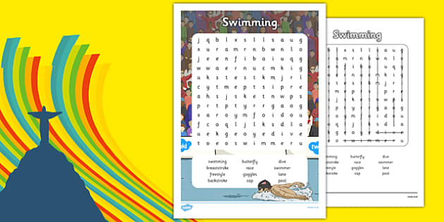 The Olympics Swimming Word Search - Rio, swim, events, Olympic, literacy, letters