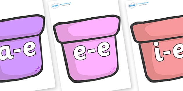 Modifying E Letters on Plant Pots - Modifying E, letters, modify, Phase 5, Phase five, alternative spellings for phonemes, DfES letters and Sounds
