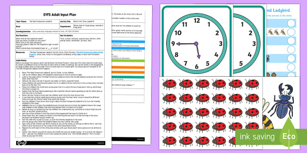EYFS What's the Time Ladybird? Adult Input Plan and Resource Pack - EYFS, Eric Carle, The Bad Tempered Ladybird, minibeasts, animals, time, hour, o'clock, adult led, m