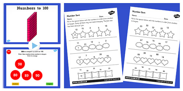 Year 2 Maths Order Numbers from 0 up to 100 Lesson Pack - pack