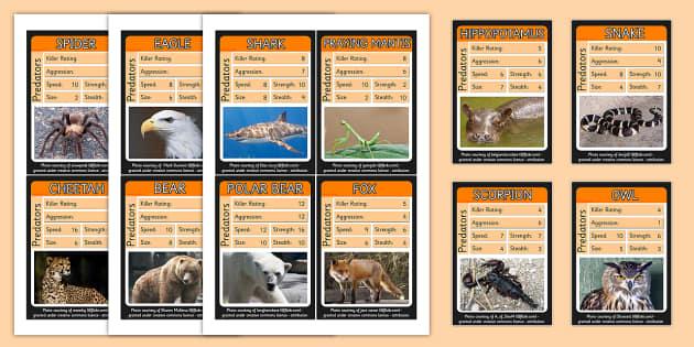 Predator Card Game - predator, top trump, cards, game
